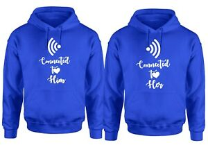 Couple Matching Hoodie Love Connectiont Wifi Hoody Hood Funny Valentine's Gift