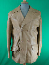 VINTAGE 70s BEIGE LEATHER DOUBLE-BREASTED PEACOAT 38 IN