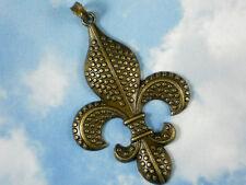 """1 LG Fleur de Lis Necklace Pendant Bronze Tone 3"""" Long Raised Dots NOLA #P1045"""