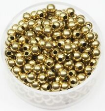 WHOLESALE 4 MM  RAW BRASS ROUND SEAMLESS HOLLOW BEADS 1000 PCS. HOLE 1.5 MM