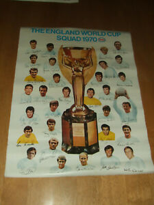 England World Cup Squad 1970 ESSO Poster with Printed Signatures No2