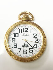 Belair Quartz Gold Tone Train Engraving Working Condition Pocket Watch