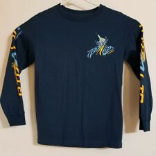 Rip A Lip Fish Wear Long Sleeve T Shirt Blue Fluorescent Colors Size S Pre Owned