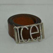 ** Iceberg ** ICEJEANS ** Brown Leather Belt ** Diamante Buckle ** 42 **