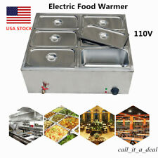 Commercial Electric Food Warmer Buffet Server Heater Tray Stainless 6Pot 850W Us