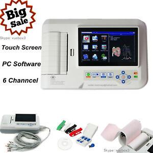 Touch 6-Channel Electrocardiograph 12-lead ECG/EKG Machine+ Printer+PC Software
