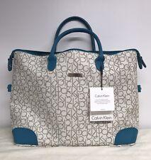 CALVIN KLEIN Luggage Cream White Blue CK Logo Large Travel Tote Purse NEW