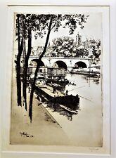 EUGENE BEJOT Original PENCIL SIGNED ETCHING NOTRE DAME de PARIS 1908 w/ Drypoint