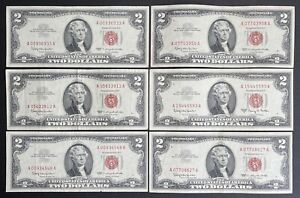 1963 Red Seal $2 Dollar Bill Legal Tender Note - Lot Of 6 (C155)