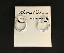 Kenneth Cole Hammered Finish Matte Silver Tone Hoop Earrings