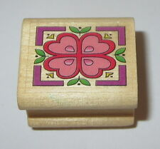 "Hearts Flower Rubber Stamp Leaves Border Wood Mounted 1"" High Floral"