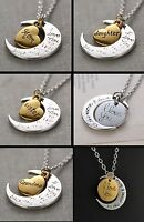 """""""I Love You to the Moon and Back"""" Necklace Heart Mother Father Silver Tone Gold"""