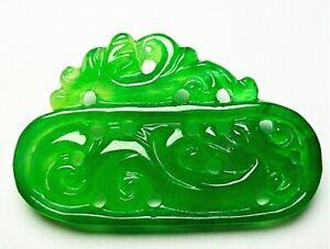 Chinese Ice Green Jadeite Jade Handwork Collectible Dragon Amulet Pendant AK01