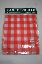 White Red Plastic Tablecloth Party Baby Shower 54 x 108