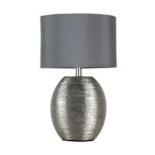 Contemporary Textured Chrome Ceramic Bedside Table Lamp Grey Shade Lounge Light
