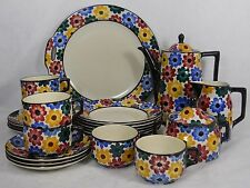 "GES GESCH Germany GGE1 ""Flowers"" 24-piece Coffee Set -Pot Cups Cake Plate Salads"