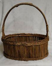 "Oval Bamboo Sticks Wood Base Braided Wicker Picnic Storage Basket Home Decor 18"""