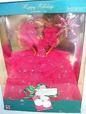 HAPPY HOLIDAYS 1990 BARBIE CHRISTMAS HOT PINK DRESS NRFB VINTAGE