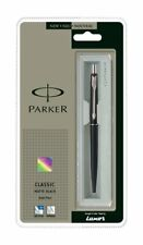 GENUINE PARKER CLASSIC MATT BLACK BALL POINT PEN - SILVER TRIM - GIFT BOX