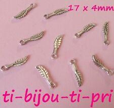 LOT de 30 PENDENTIFS ARGENTES perles breloques PLUMES FEATHER 17x4mm FIMO bijoux