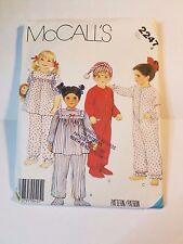 McCall's 2247  Toddler's / Children 1 and 2 Piece Pajamas and Cap, Uncut
