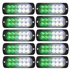10x White Green Car Strobe Emergency Lamps Surface Mount Flash Lights For Pickup