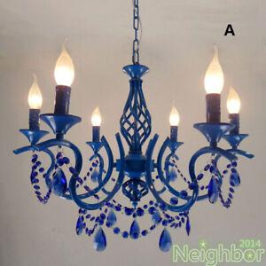 Modern Blue Crystal Chandelier Iron Pendant Light Ceiling Lamp Bedroom lighting