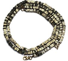 Natural Gem Golden Pyrite Square 5.5MM Approx Size Heishi Beads Necklace 17""