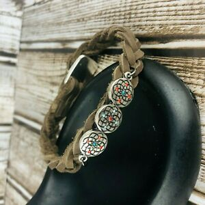 Braided Brown Leather Cord Floral Rhinestone Silver Button Clasp Bracelet