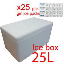 25L XL Polystyrene styrofoam foam cooler box icebox + 25 reusable ice gel packs