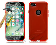 For Apple iPhone 7 7 Plus New Slim Gel Silicone Phone Case + Tempered Glass