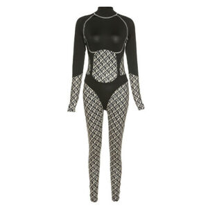 HOT SALE Women Patchwork Long Sleeves Printed Bodycon Club Sporty Yoga Jumpsuit