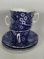 Set of 3 Antique Cobalt Blue Floral Chintz Porcelain Cup and Saucer Set
