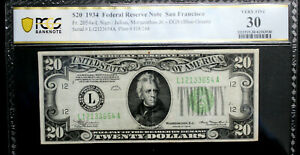 1934 $20 Federal Reserve Note.SAN FRANCISCO  PCGS 30 VERY FINE FR 2054a-L