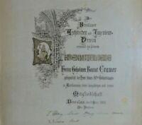 Antik-URKUNDE ZUM EHRENMITGLIED, BRESLAU 1908, des Architekten & Ingnieur-Verein