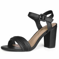 Women Ruched Block Heel Ankle Strap Dress Sandals