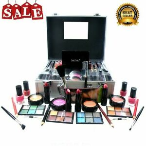 Large Beauty Travel Carry Case With Cosmetics Girls Make Up Set Xmas Gift Silver