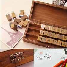 30pcs Retro Alphabet Capital Letter Uppercase Rubber Stamp Set Craft Wooden Box