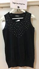 Women's Wanko Sleeveless Bead Cotton Vest Sweater Top Black One Size (Sample)