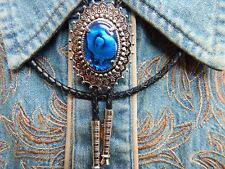 NEW BLUE ABALONE BOLO BOOTLACE TIE SILVER METAL LEATHER CORD WESTERN COWBOY