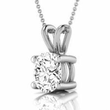 1.17 CARATS WEDDING NATURAL 14K WHITE GOLD COLORLESS ROUND NECKLACE VS1 PENDANT