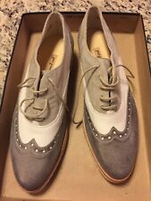 Paul Green Oxford  Lace Up Leather Beige/ white / gray Shoes US10 UK 7 NWOB