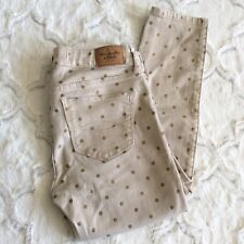 Abercrombie & Fitch Women's  Size 2 Ivory Gold Polkadot Skinny Streth Jeans