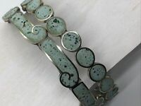 Mexico Taxco Sterling 925 Bracelet Lot Turquoise Green Inlay Circle Wave 20.5g