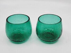 2 Green Crackle Glass Holders for Tea Light Votive Candles