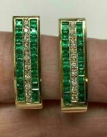 3Ct Princess Emerald & Diamond Estate Vintage Hoop Earrings 14k Yellow Gold Fn