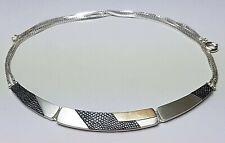 Design Collier 925 Sterling Silber mattiert punz. 80er/90er Jahre - A 263