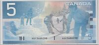 2001 $5 Bank of Canada Replacement Note Knight Dodge Prefix AOF - UNC