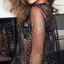Women Sexy Black Crystal Mesh See-through Long Sleeve Crop Top T Shirt Blouses L