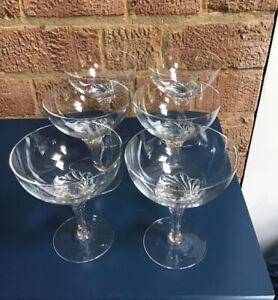 Vintage Set 6 Champagne Glasses, Champagne Coupes TWISTED STEM